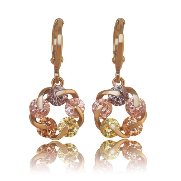 (382E) NEW 18k Yellow Gold Filled Lucky Rotating Earrings Drop Women Multicolor/Clear Europe Style High quality Zircon
