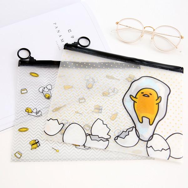 Al por mayor-R21 1X Kawaii lindo Gudetama perezoso huevo archivo transparente bolsa de documentos Pencil Pen Case Kids Gift School suministros de oficina