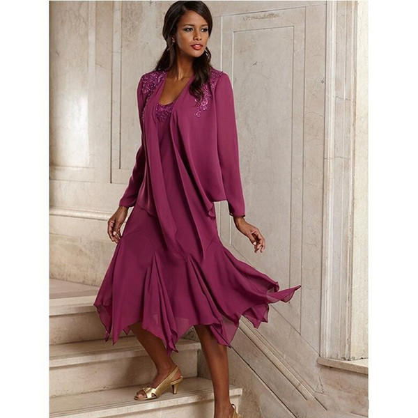 2017 Elegant Plum Long Sleeves Mother Of The Bride Groom Dresses With Jacket Tea Length Chiffon Beach Wedding Guest Party Gowns