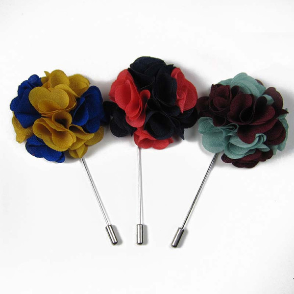 Newest 5cm Men double color fabric flower stick pin lapel pin brooch pins 12pcs/lot 14color for your choice Free shipping