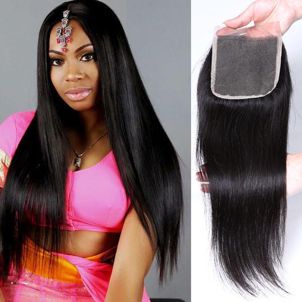 Encerramento completo completo do laço do cabelo humano do Virgin livre / meio / três partes extensões do cabelo reto de 8-18 polegadas
