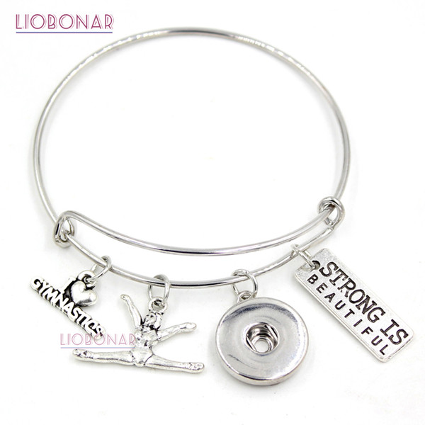 Venta al por mayor Snap Jewelry I love Gymnastics Bracelet Gymnast Charm Bangle Sport Bracelet Gifts Jewelry Pulsera ajustable del botón a presión