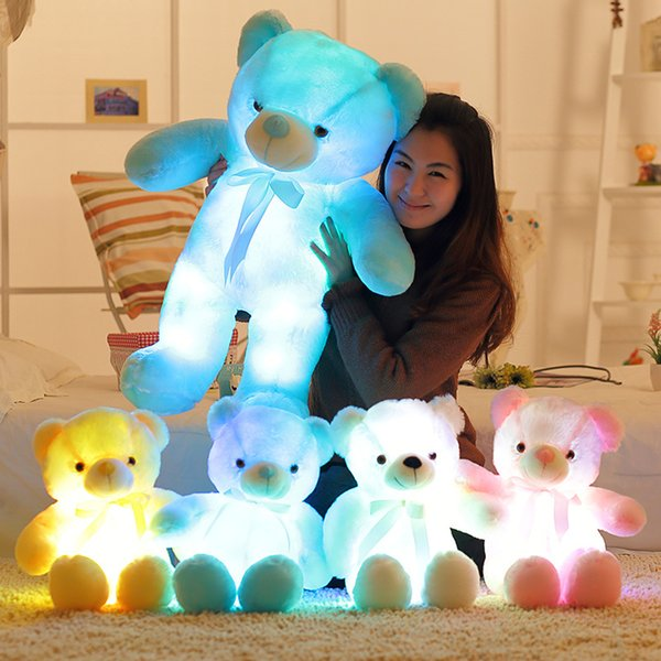 New Creative Light Up LED Inductive Teddy Bear Stuffed Animals Plush Toy Colorful Glowing Teddy Bear Christmas Gift for Kids 30cm 50cm 80cm