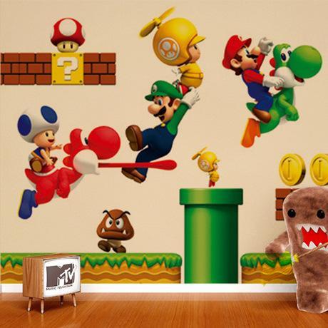 Großhandel Super Mario Aufkleber Kindergarten Kinderzimmer Dekorative PVC  Tapete Kann Cartoon Kunstwandbild Wandaufkleber Entfernen Von Minifeet, ...