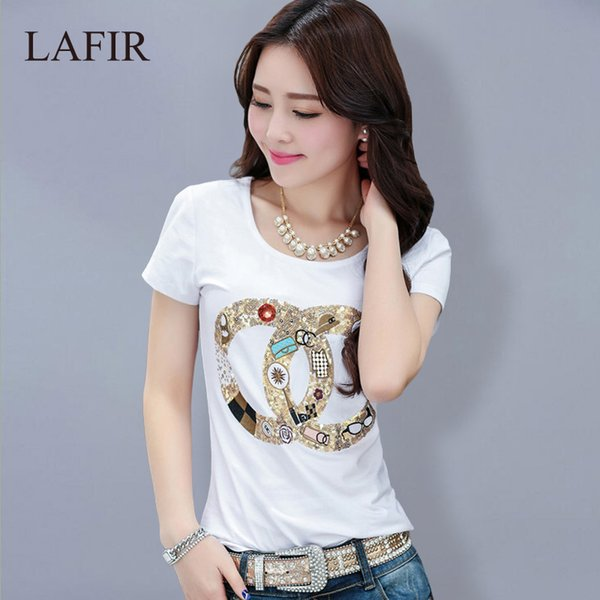 272ef08e56d Wholesale-Plus Size 4XL T Shirt Women 2016 Summer Sequin Fashion T-shirt  Women Tshirt Female Short Sleeve Graphic Tops Tee Shirt Femme