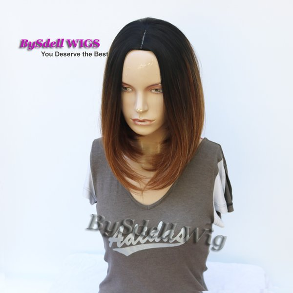 Synthetic Black roots ombre to mix brown color 14inch medium length straight hair wig, beautiful daily wigs for fashion women