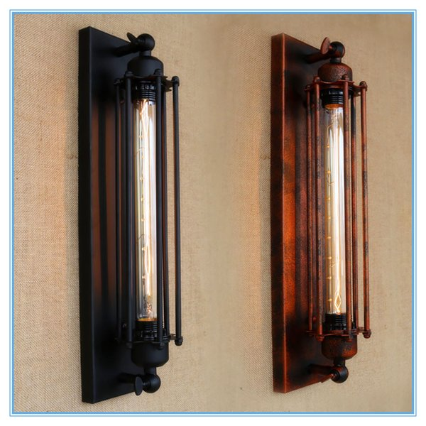Vintage antique retro black iron pipe wall lamp E27 for hallway Bathroom bar Vanity night Lights/fixture sconce bedroom hotel