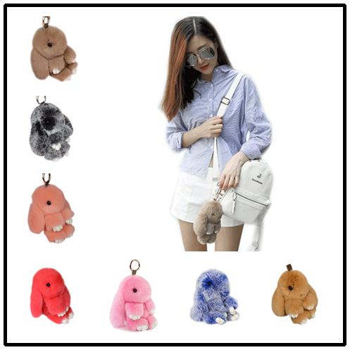 40 Colors Rabbit Fur Key Chain 13cm 18cm Pompoms Fur Balls Trinket Keychain Women Handbag Charms Pendant