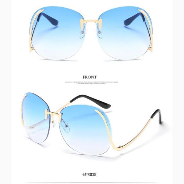 Wholesale- Steampunk Frameless Sunglasses Women Vintage Color Gradient Women Men Rimless Sun Glasses Metal Female 2017 UV400 Oculos Eyewea