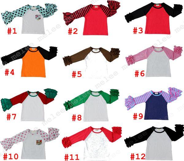 top popular Girls raglan Tops Kids icing ruffle shirts Girl Striped Dot O-neck shirts Spring Autumn T-shirt 21styles 2021