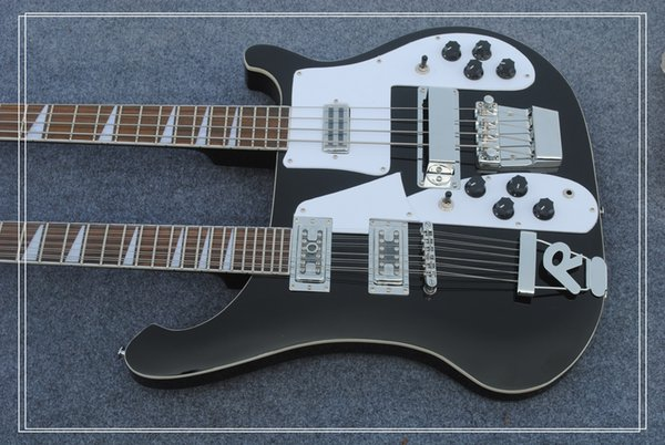 New Double neck bass guitar 4 string bass and 12 string guitar black Electric Guitar OEM Available free shipping