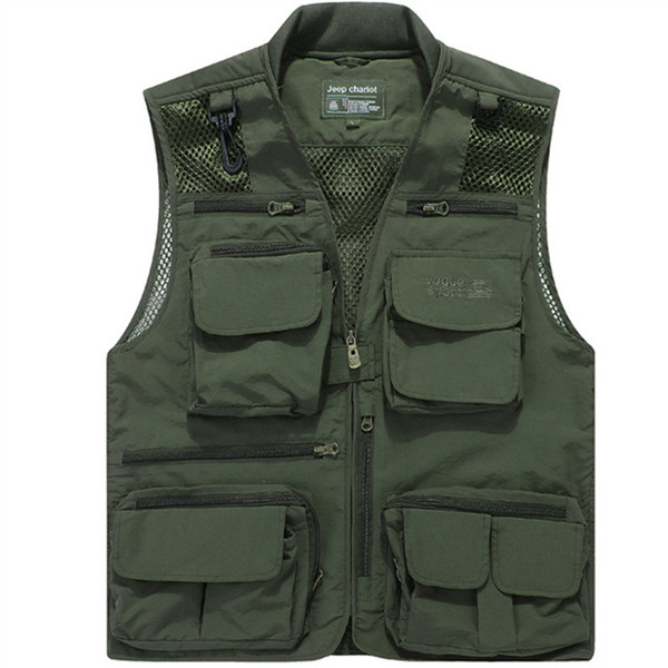 Wholesale- Free Shipping Mesh Shooting Vest Multi-Pocket Men Sleeveless Jacket Big Size 6xl Quick Dry Mens Casual Vests
