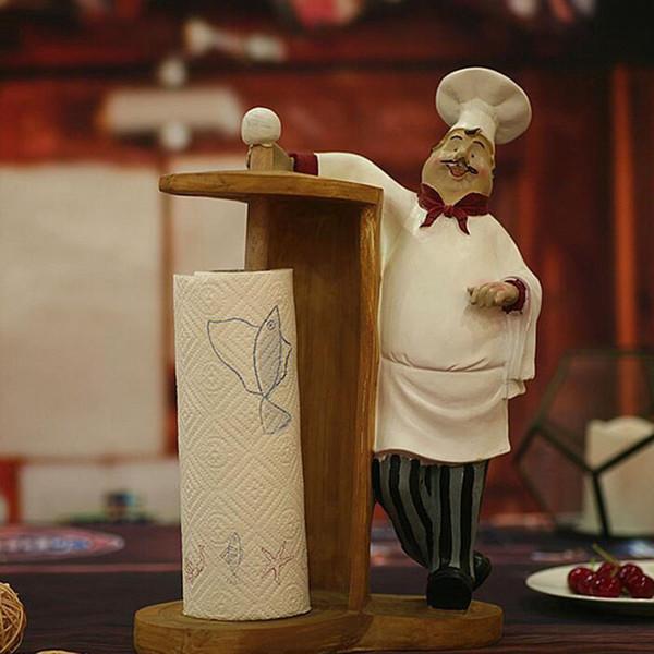Creative Kawaii Household Kitchen Decoration Resin Crafts Cake Bakery Chef Articles Tissue Rack Napkin Holder ZA5409