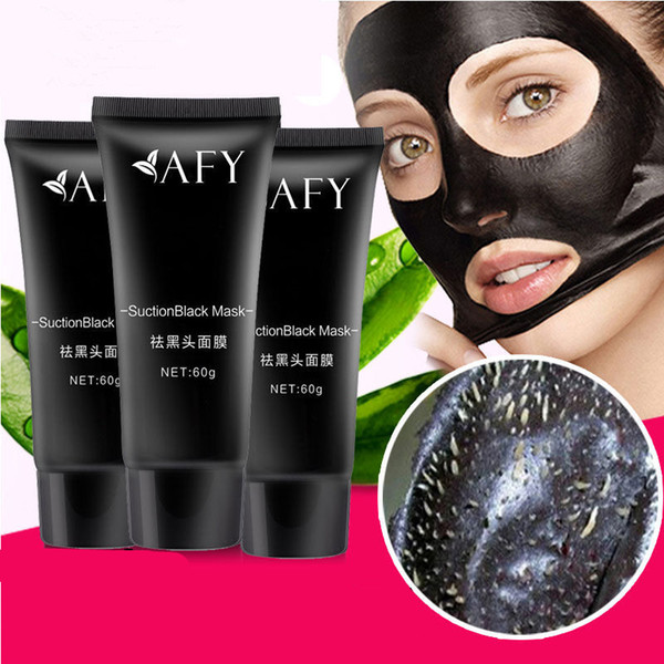 DHL Blackhead Remover AFY Suction Black Mask Nose Acne Deep Cleansing Face Care Nature Pore Cleaner Black Head Removal Mud Facial Mask 60g