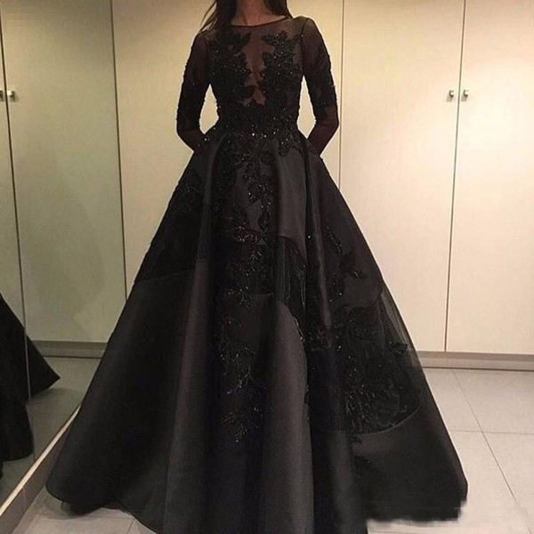 2017 Fashionable Lace Applique Beaded Red Carpet Satin Prom Dress Illusion Ball Gown Formal Long Sleeves Full Length Evening Dresses