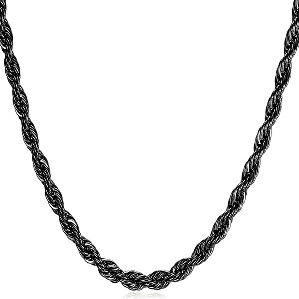 Hohe Qualität 316L Edelstahl Seil Kette Halskette für Männer Modeschmuck Geschenk Black Gun Überzogene Lange Halsketten
