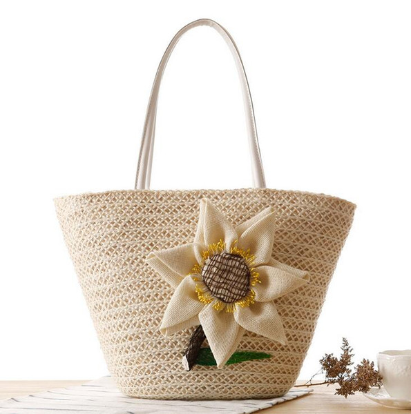 Factory wholesale brand new fashion hand woven bags beach bag summer Straw Beach Bag hand woven sunflower woman single shoulder bag