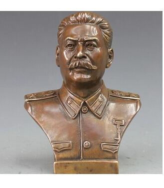 Decoración Cobre Latón CHINA artesanías decoración Asiático Bronce Occidental Cobre Político Joseph Vissarionovich Stalin Busto Arte Estatua