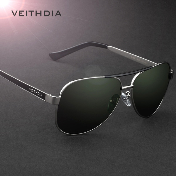 VEITHDIA Brand Designer Polarizerd Sunglasses Men Glass Mirror Green Lense Vintage Sun Glasses Eyewear Accessories Oculos 3152
