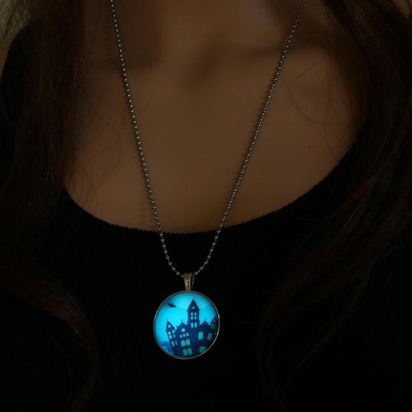 할로윈 해골 나무 성 유령 Xmas Glow in the Dark 펜던트 목걸이 빛나는 스테인레스 스틸 체인 Charm Time gem Luminous Statement