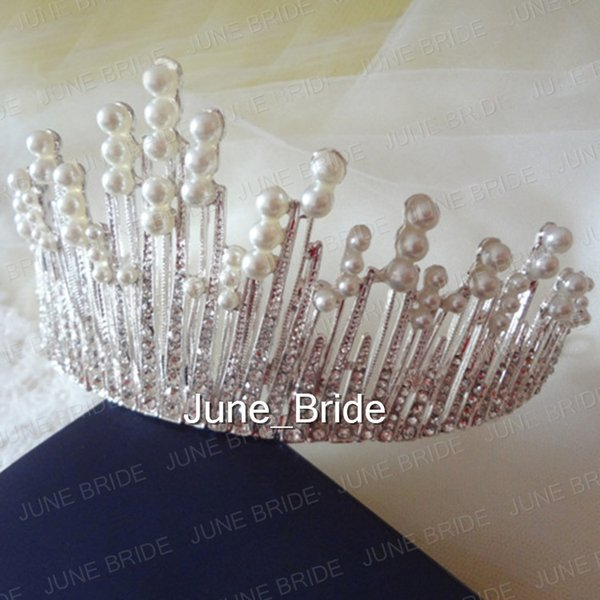 Real Photo Gorgeous Clear Crystal Pearl Bridal Crown Tiara Two Styles Free Shipping Stunning Bridal Wedding Hair Accessory Handmade Jewelry