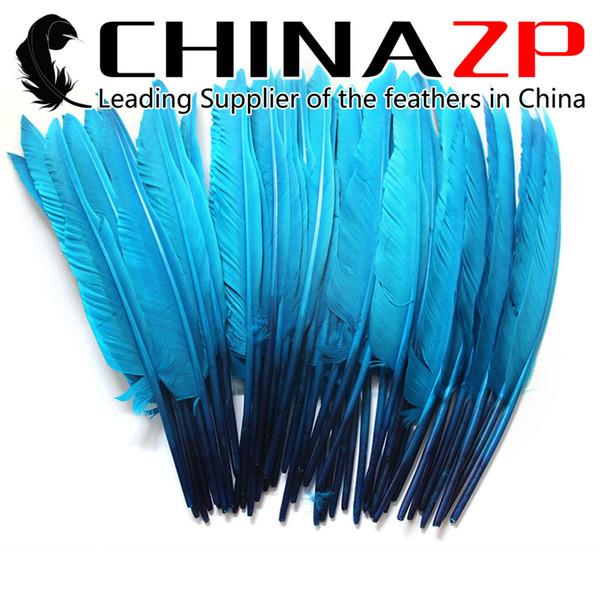 Leading Supplier CHINAZP Crafts Factory 100pcs 25~30cm(10~12inch) Hand Select Dyed Turquoise Goose Primary Pointer Feather For Decoration