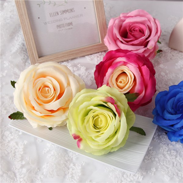 20Pcs White Silk Rose DIY Photography Wedding Flower Wall Flower Ball Arrangement Artificial Rose Heads The Wedding Backdrop Party Decor