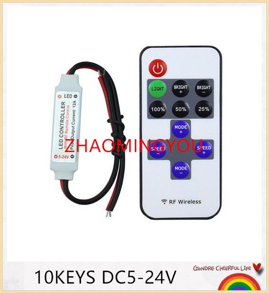 DC5-24V Mini RF Wireless Led Remote Controller Led Dimmer Controller For Single Color Light Strip SMD5050/3528/5730/5630/3014