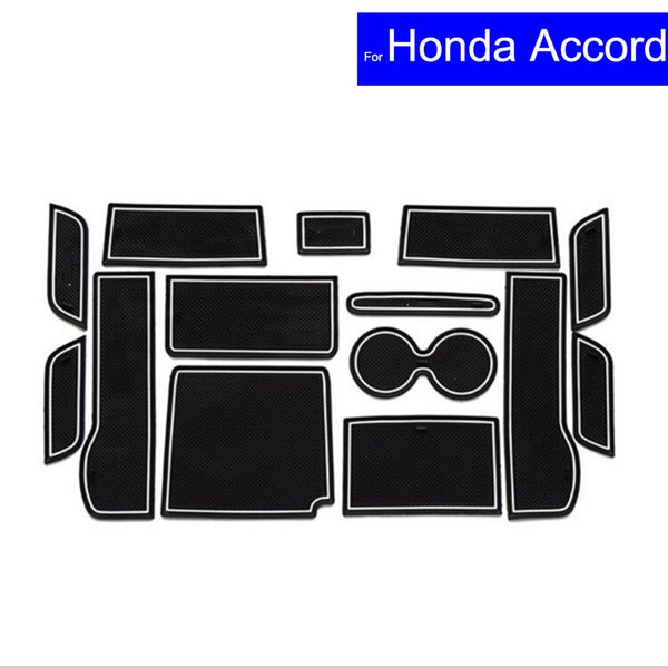 14 Pcs Car Door Gate Slot Mats Carpets Position Cup Holder Pads For Honda Accord 2014 2015 Door Groove Mat Free Shipping
