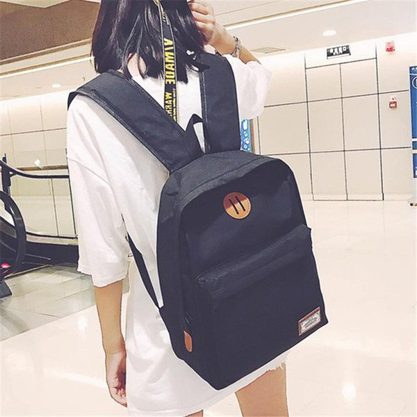 New Fashion Women Backpack Canvas Travel Preppy Style Casual High School Bag For Young Gril Student Pack Gray Orange Shoulder Bags