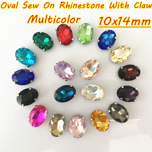 10x14mm 100 pz / lotto Multicolor cristallo ovale fai da te cristallo cucire strass con artiglio per abbigliamento borse accessori