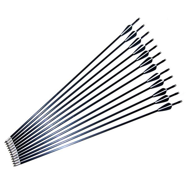 12pcs/pack,80cm 76cm 74cm 71cm Archery Hunter Nocks Fletched Steel Arrows Fiberglass Hunting Target Practice for Compound/Recurve Bow