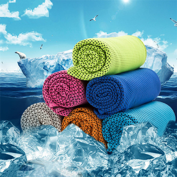 best selling 90*35cm Double Layer Ice Cooling Towel Cool Summer Cold Sports Towels Instant Cool Dry Scarf Soft Breathable Ice Belt Towel for Adult Kids