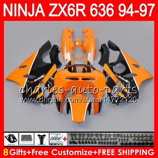 8Gifts 23Colors Per KAWASAKI NINJA ZX636 ZX6R 94 95 96 97 ZX 636 ZX 6R arancione nero 33NO39 600CC ZX-636 ZX-6R 1994 1995 1996 1997 Carenatura