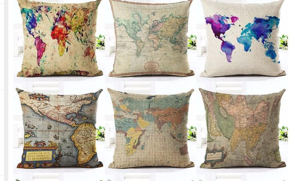 18 Inches Vintage Style Cushion Cover World Map Pattern Cotton