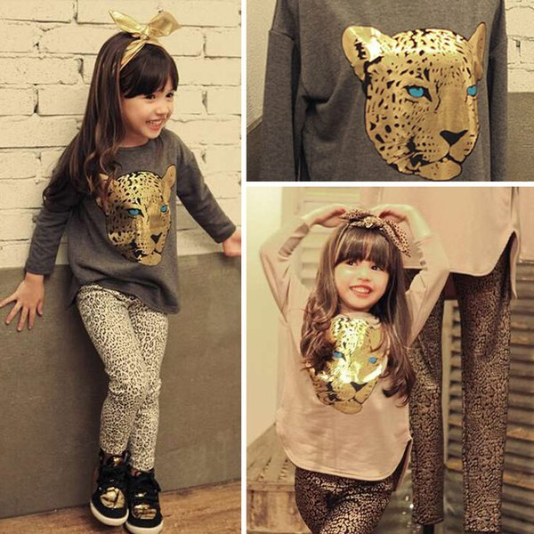 Wholesale- 2016 Summer Toddler Girls Clothing Sets 2-9 Years Kid Steller Tops+Leopard Legging 2pcs Baby Girl Clothes Roupas Infantis Menina