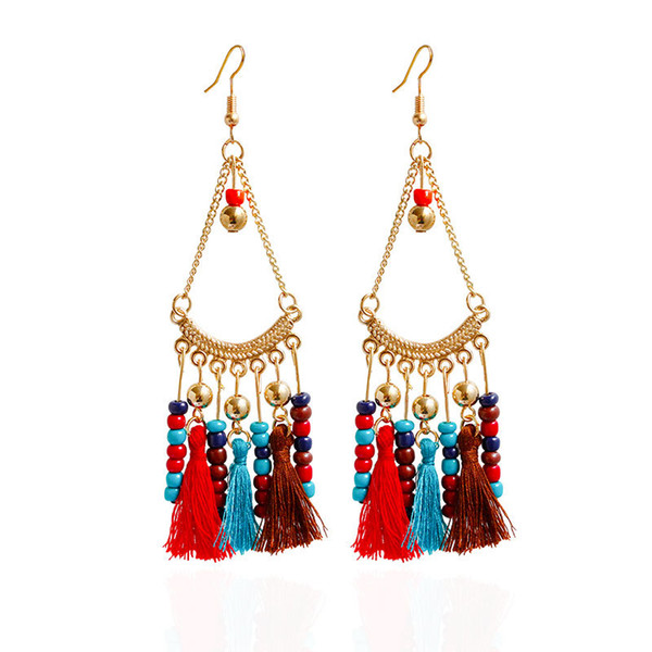 Hot 5 colors bohemia boho Vintage Handmade gold plated beads tassel Pendant Earring Stylish Women girl gift Lady Holiday Jewelry