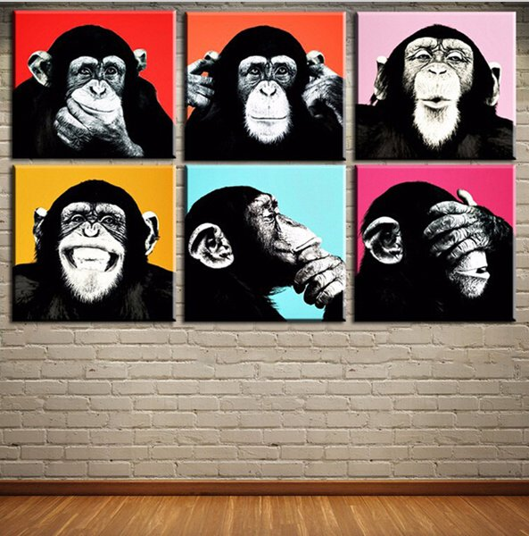 New fashion 6PCS Andywarol monkey Wall painting on canvas for home decor ideas paints on wall pictures art No framed
