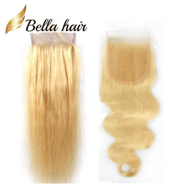 Bella Hair® 10A #613 Blonde Lace Closure with Baby Hair Straight Brazilian Human Hair Top Closure 4*4 Lace Blonde Body Wave