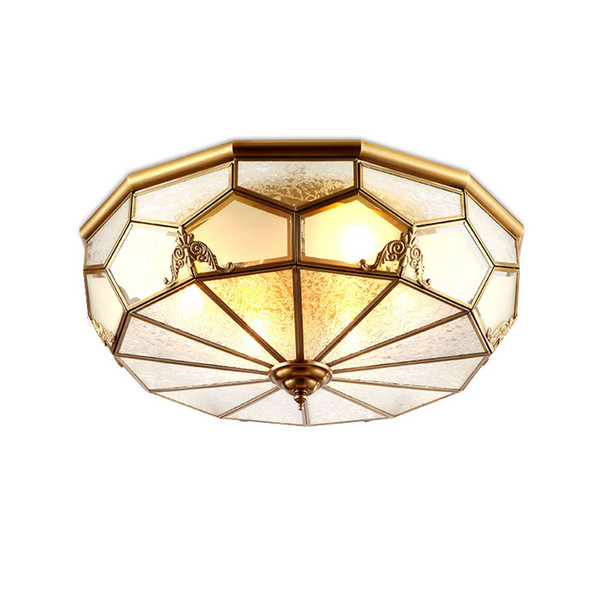 European Copper Bedroom Ceiling Lights classical Glass Shade Balcony Porch Ceiling Lamps Hand soldering Ceiling lamp