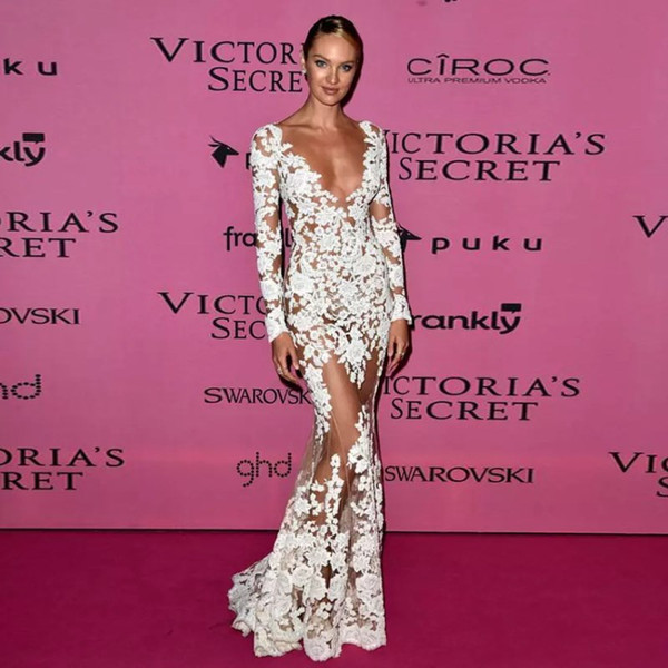 Compre 2017 Sexy Zuhair Murad Vestidos De Noche Cuello En V Profundo ...