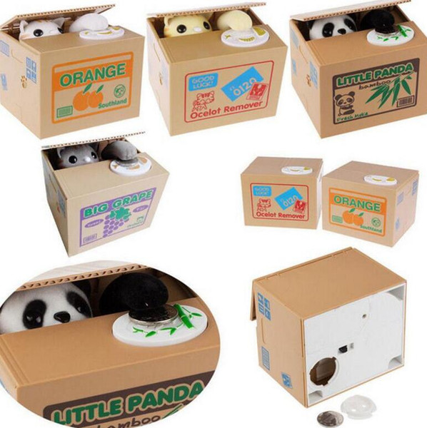 top popular Cat Panda Stealing Money From You Mechanical Coin Piggy Bank Mischief Saving Box Piggy Bank Funny Gift For Kids KKA3080 2021