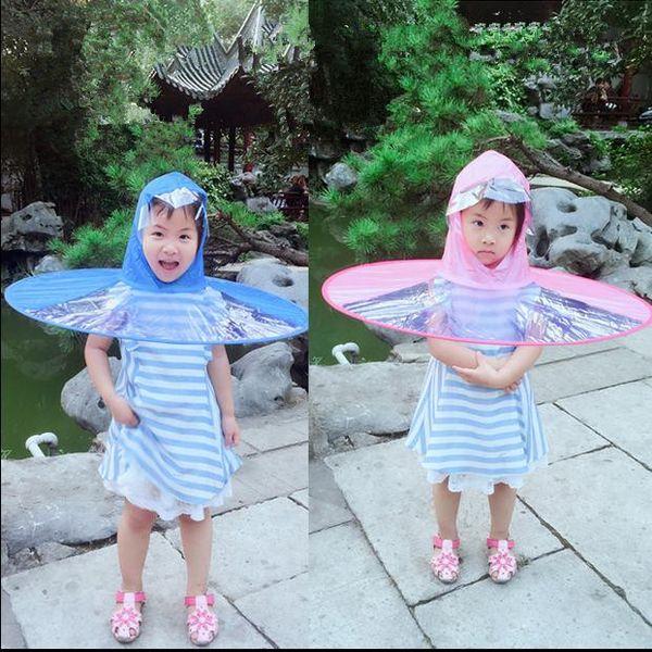 top popular Creative Raincoat Umbrella Children Headwear Hat Fishing Umbrella Men Women Kids Rain Coat Cover Transparent Foldable Hung Outdoor 2019