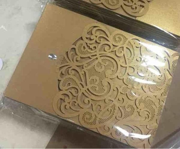 Hollow Laser Cut Wedding Invitations Gold Printing Wedding Flowers Hollow Wedding Cards coffee color DHL free shipping