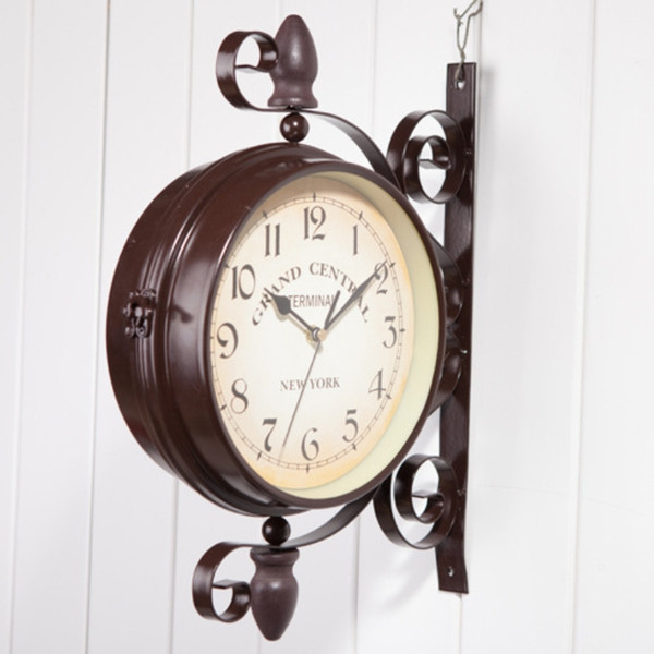 iron art and home garden decoration, clocks, double wall clock, classical european style, garden outdoor decoration.