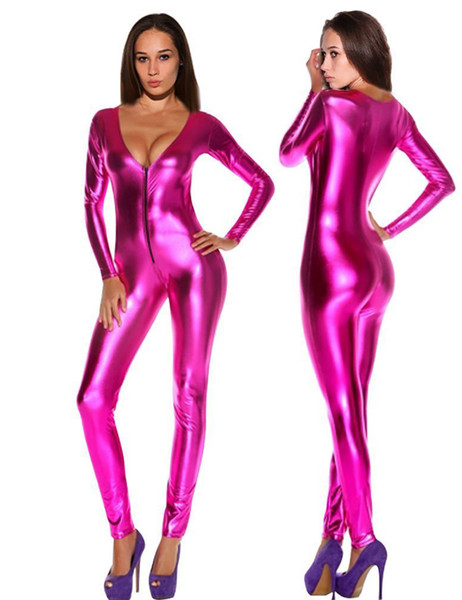Vente en gros - Femmes Combinaisons Romper Sexy Catsuits Latex Solide Noir / Argent / Or / Bleu / Rose Zipper Night Club Body Full Sleeve Faux Leather Body