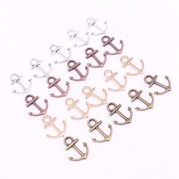 Sweet Bell Min order 100pcs 15*19mm Four Color Metal Zinc Alloy Mixed mini Nautical Anchor Charms Diy Jewelry Pendant Charms D1208