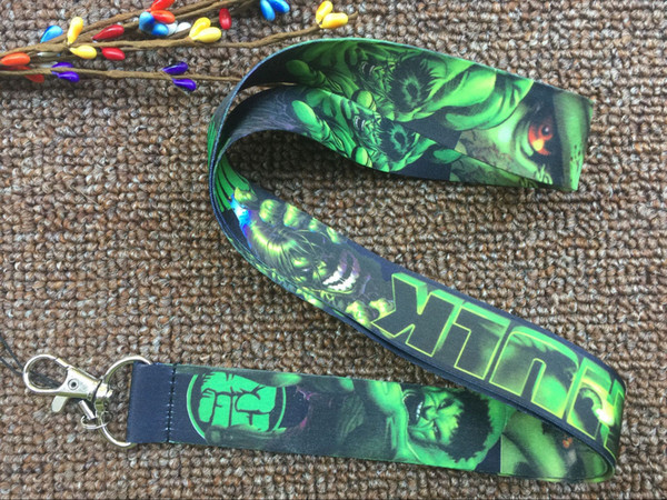 Free Shipping 50 pcs Hero Hulk Green Lanyards Neck Strap Keys Camera ID Card Lanyard Mobile Phone Neck Straps
