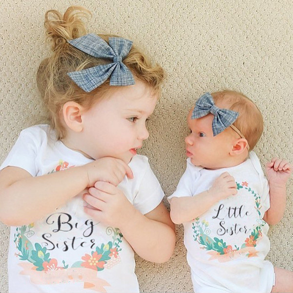 best selling 2017 Ins Summer Baby Girl Short Sleeve ''big sister'' Letters White T-Shirts Infant Girl Letters white triangle rompers
