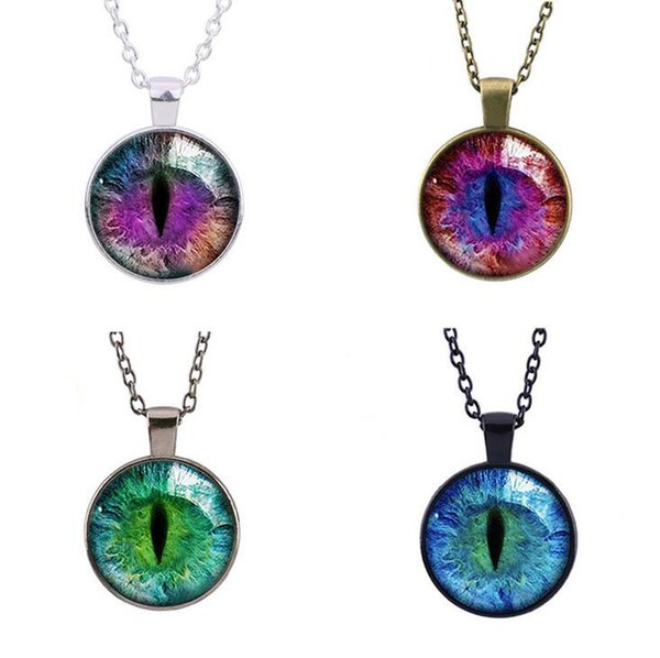 Good A++ Retro Purple Dragon Cat 's Eye Gem Pendant Necklace Fashion Sweater Chain WFN120 (with chain) mix order 20 pieces a lot